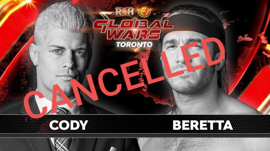 Cody unable to wrestle in Toronto due to injury