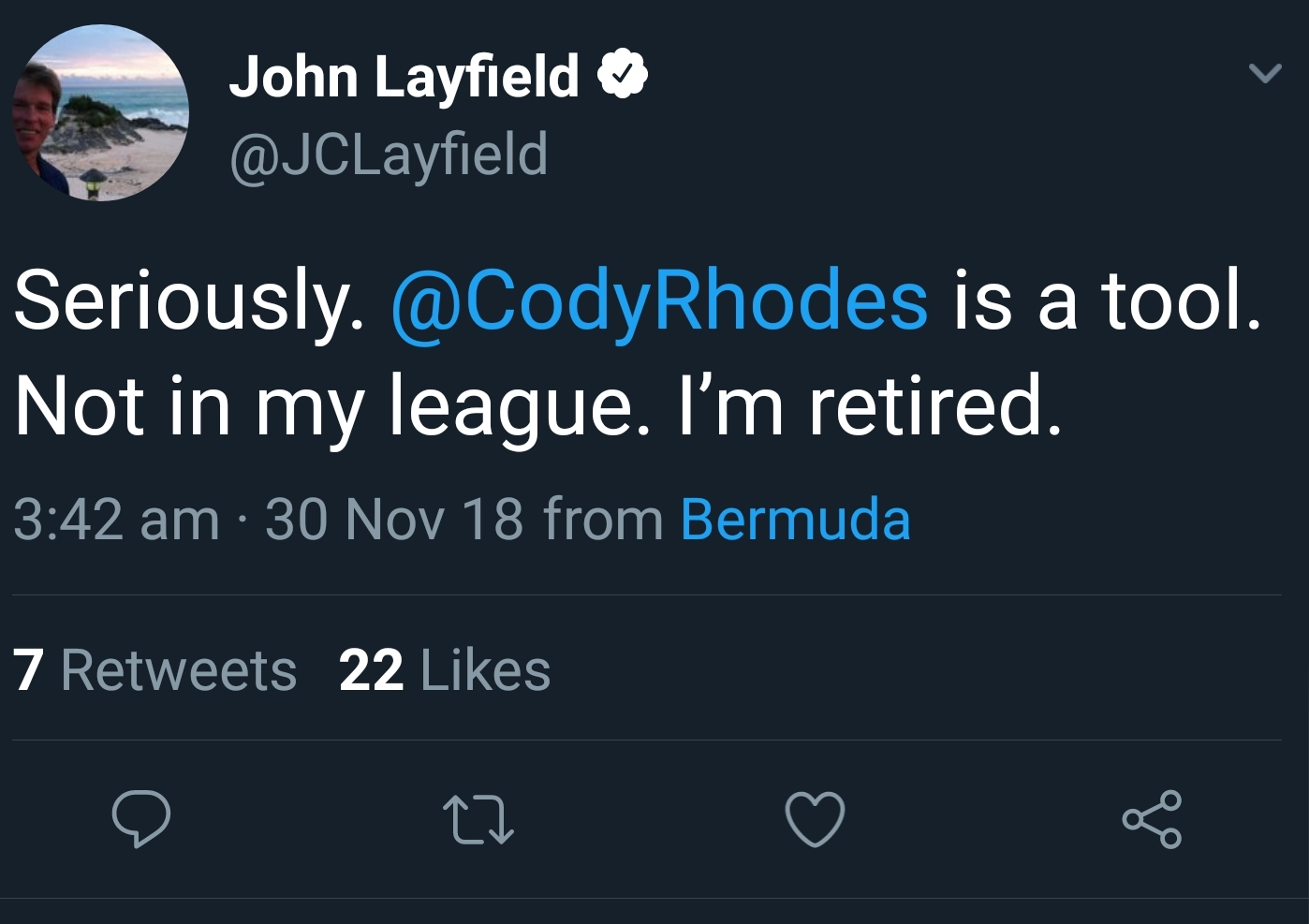 "John ""Bradshaw"" Layfield takes shots at Cody Rhodes"