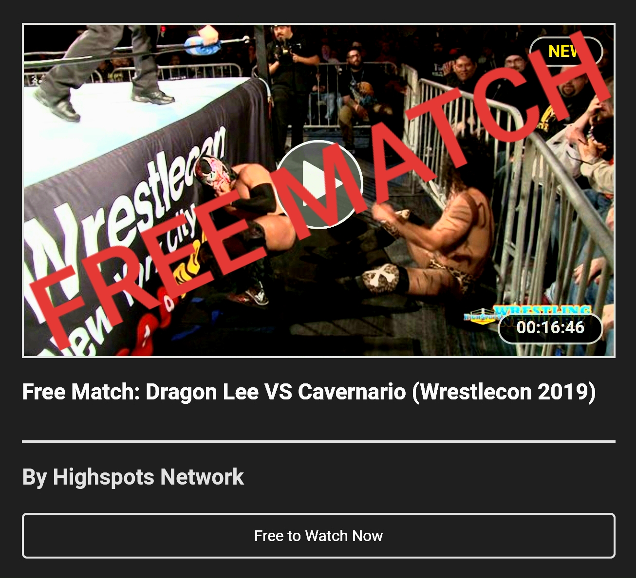 Watch: Dragon Lee vs Cavernario from WrestleCon FREE